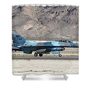 An F-16c Aggressor Jet Landing Shower Curtain