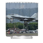 An Fa-18 Super Hornet Of The U.s. Navy Shower Curtain