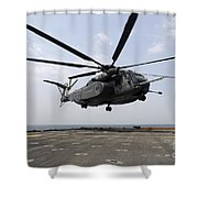 An Mh-53e Sea Dragon Prepares To Land Shower Curtain