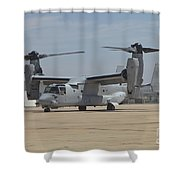 An Mv-22 Osprey Taxiing At Marine Corps Shower Curtain