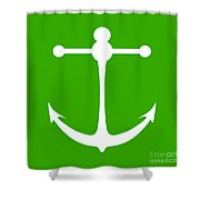 Anchor In Green And White Shower Curtain