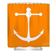 Anchor In Orange And White Shower Curtain