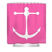 Anchor In Pink And White Shower Curtain