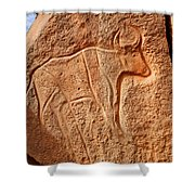 Ancient Engraving Of A Buffalo At The Wadi Matkhandouch In Libya Shower Curtain