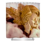 Angel Resting On Clouds And Enjoying The Sun Shower Curtain