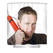 Angry Business Man Holding Stick Of Dynamite Shower Curtain