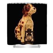 Antique Dog W Lantern Shower Curtain