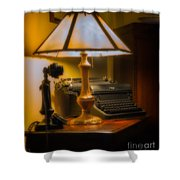 Antique Lamp Typewriter And Phone Shower Curtain