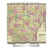 Antique Map Of Arkansas 1855 Shower Curtain