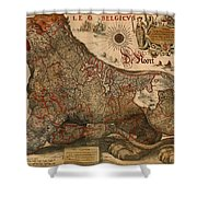 Antique Map Of Leo Belgicus 1630 Shower Curtain