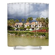 Apartment Houses In Marbella Shower Curtain