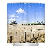 Arid Agricultural Landscape In South Tasmania Shower Curtain