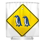 Attention Blue Penguin Crossing Road Sign Shower Curtain