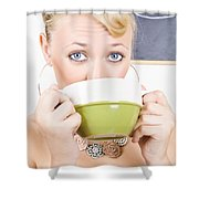 Attractive Blonde Woman Drinking Green Tea Shower Curtain