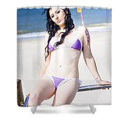 Attractive Girl On The Beach Shower Curtain