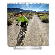 Attractive Woman Riding Her Mountain Shower Curtain