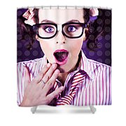 Attractive Young Nerd Girl With Surprised Look Shower Curtain