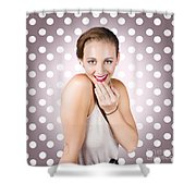 Attractive Young Retro Girl With Look Of Surprise Shower Curtain