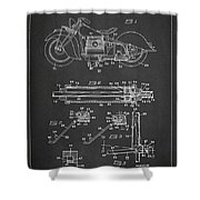 Automatic Motorcycle Stand Retractor Patent Drawing From 1940 Shower Curtain by Aged Pixel