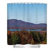 Autumn Trees At Lakeshore, Brome Lake Shower Curtain