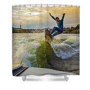 Autumn Wake Surfing Shower Curtain