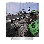 Aviation Boatswain's Mate Signals Shower Curtain by Stocktrek Images