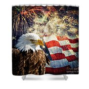 Bald Eagle And Fireworks Shower Curtain by Michael Shake