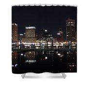 Baltimore Skyline At Night Shower Curtain