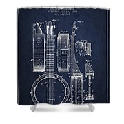 Banjo Patent Drawing From 1882 - Blue Shower Curtain