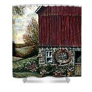 Barn Wreath Shower Curtain