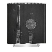 Baseball Bat Patent Drawing From 1920 Shower Curtain