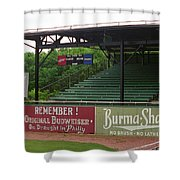 Baseball Field Burma Shave Sign Shower Curtain by Frank Romeo