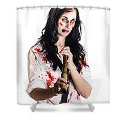 Battered Business Girl Preparing For The Worst  Shower Curtain