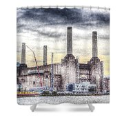 Battersea Power Station London Snow Shower Curtain