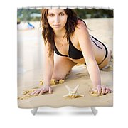 Beach Fun With A Gorgeous Brunette Shower Curtain