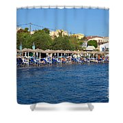 Beach In Aegina Town Shower Curtain