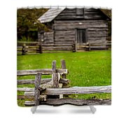 Beautiful Autumn Scene Showing Rustic Old Log Cabin Surrounded B Shower Curtain