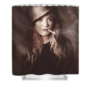 Beautiful Blond Army Pinup Girl Smoking Cigarette Shower Curtain