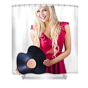 Beautiful Blonde With Heart-shaped Record Shower Curtain