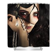 Beautiful Female Fashion Model In Luxury Jewellery Shower Curtain