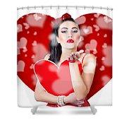 Beautiful Girl In A Bright Love Romance Shower Curtain