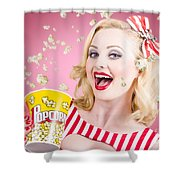 Beautiful Girl Watching Premier At Movie Theater Shower Curtain