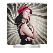 Beautiful Model In Vintage Fashion Accessories  Shower Curtain
