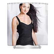 Beautiful Model With Long Straight Brunette Hair Shower Curtain