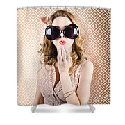 Beautiful Surprised Girl Wearing Big Sunglasses Shower Curtain