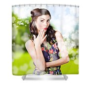Beautiful Valentines Day Woman. Cosmetic Love Shower Curtain