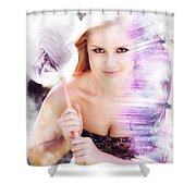 Beautiful Woman In Flight Of Fantasy Shower Curtain