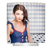 Beautiful Young Brunette Pin-up Woman  Shower Curtain
