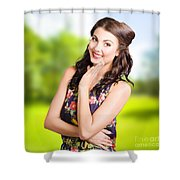 Beauty Girl. Beautiful Young Woman With Clean Skin Shower Curtain