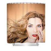 Beauty Portrait. Beautiful Woman And Long Red Hair Shower Curtain